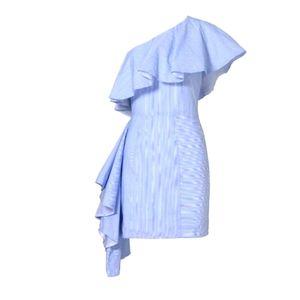 Viva Aviva Takeo Pinstripe One Shoulder Blue Dress